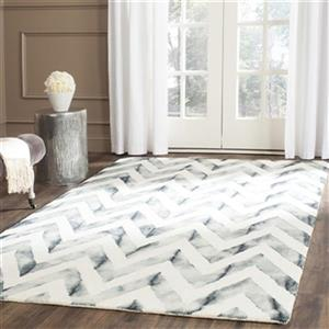 Dip Dye Hand-Tufted Wool Ivory and Grey Area Rug