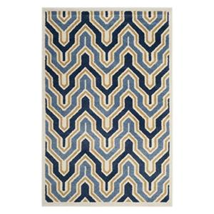 Ivory and Blue Amherst Indoor/Outdoor Rug