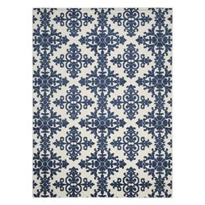 Cream and Royal Blue Cottage Indoor/Outdoor Rug