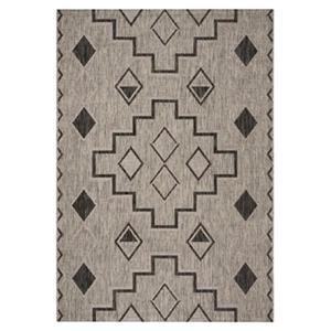 Safavieh Courtyard 7-ft x 10-ft Rectangle Southwest Grey/Black Indoor/Outdoor Area Rug