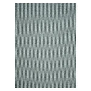 Turquoise and Light Grey Courtyard Indoor/Outdoor Rug