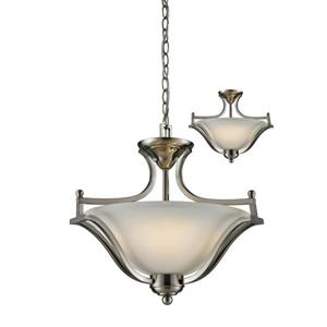 Z-Lite Lagoon 19.50-in Brushed Nickle 3-Light Pendant