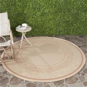 Safavieh Courtyard 7-ft x 7-ft Round Off-white/Cream Indoor/Outdoor Area Rug