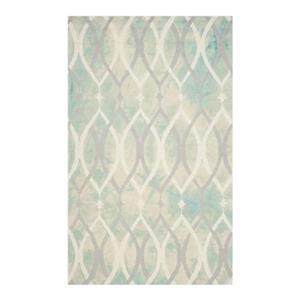 Dip Dye Hand-Tufted Wool Green and Ivory Grey Area Rug