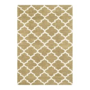 Dhurries Flat Weave Green and Ivory Area Rug
