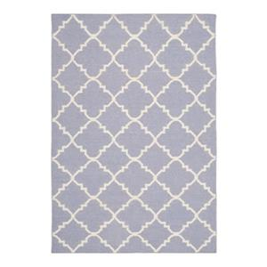 Dhurries Flat Weave Purple and Ivory Area Rug