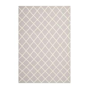 Dhurries Flat Weave Grey and Ivory Area Rug
