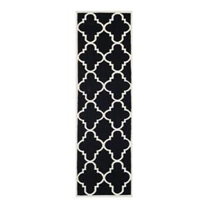 Dhurries Flat Weave Black and Ivory Area Rug