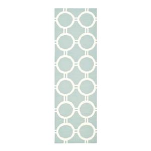 Dhurries Flat Weave Light Blue and Ivory Area Rug