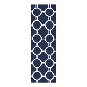 Dhurries Flat Weave Navy and Ivory Area Rug
