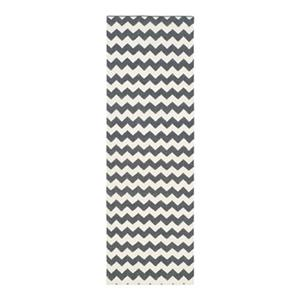 Dhurries Flat Weave Ivory and Charcoal Area Rug