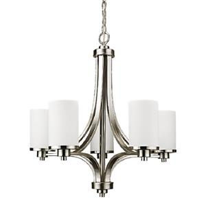 Russell Lighting Oxford Pendant Light - 5 Lights - Glass - Brushed Chrome