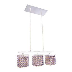 Classic Lighting Bedazzle 3-Light Chrome Kitchen Island Light with Swarovski Elements Medium Sapphire and Topaz Crystal Shade