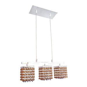 Classic Lighting Bedazzle 3-Light Chrome Kitchen Island Light with Swarovski Elements Topaz And Medium Sapphire Crystal Shade