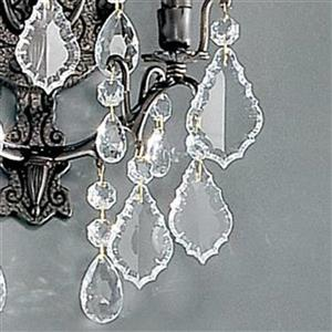 Classic Lighting Versailles 12-in W 2-Light Antique bronze Crystal Arm Wall Sconce