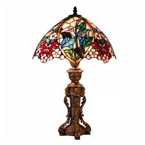 Warehouse of Tiffany 23-in with Bronze Base and Multi Coloured Shade Table Lamp