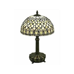 Warehouse of Tiffany Jewel 19-in with Bronze Base and Yellow, White Glass Shade Table Lamp
