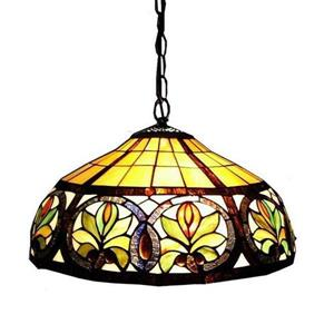 Warehouse of Tiffany Bronze Traditional Stained Glass Dome Pendant