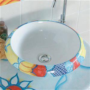 WS Bath Collections Ceramica Sol Lavante Ceramic Round Vessel Bathroom Sink (Drain Included)