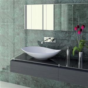 WS Bath Collections Ceramica White Ceramic Elliptical Vessel Bathroom Sink (Drain Included)