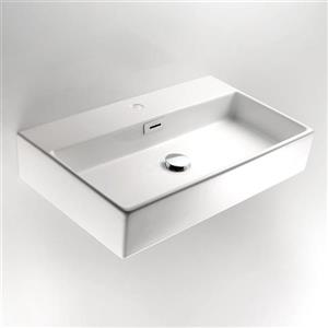 WS Bath Collections Linea Ceramic White Ceramic Rectangular Vessel Bathroom Sink Overflow Drain