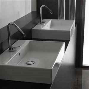WS Bath Collections Ceramica I White Wall-Mount Rectangular Bathroom Sink with Overflow