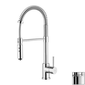 WS Bath Collections Evo Stainless Steel 21-in Lever-Handle Deck Mount Pull-Down Kitchen Faucet
