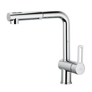 WS Bath Collections Ringo Polished Chrome 11.6-in Lever-Handle Deck Mount Pull-Down Kitchen Faucet