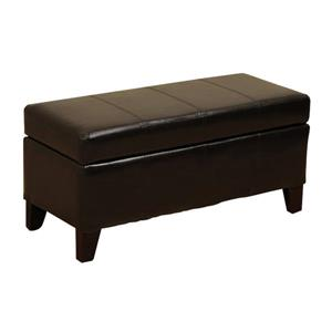 Warehouse of Tiffany Ariel 17.00-in x 36.00-in Casual Dark Brown Faux Leather Storage Ottoman