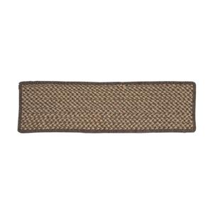 Colonial Mills Natural Wood Houndstooth 8-in x 28-in Carmel Rectangular Stair Tread Mat - 13/pack