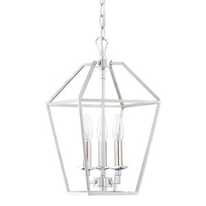 Quoizel Aviary 9-in Century Silver Leaf Traditional Cage Style 3-Light Pendant Lighting