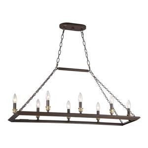 Quoizel Brook Hall 38-in W 8-Light Western Bronze Industrial Kitchen Island Light with Shade
