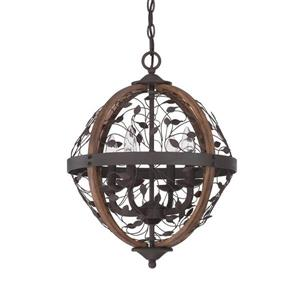 Quoizel Chamber 16-in Western Bronze Traditional Orb Pendant Lighting