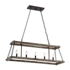 Quoizel Dwelling 40-in W 5-Light Western Bronze Industrial Kitchen Island Light with Shade