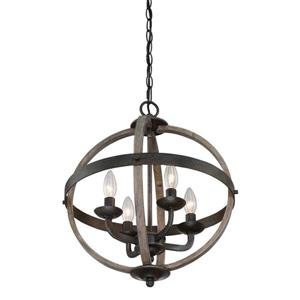 Quoizel Fusion 16.75-in Vintage Bronze Transitional Globe Cage Pendant Lighting