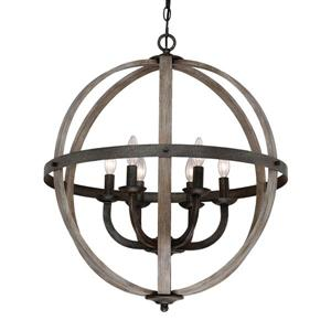 Quoizel Fusion 24.5-in Mottled Black Transitional Globe Cage Pendant Lighting