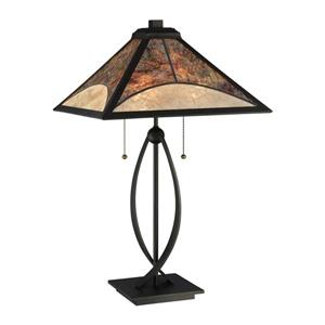 Quoizel Theory 11-in Vintage Bronze Table Lamp with Mica Shade (Set of 4)
