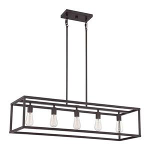Quoizel New Harbor 38-in W 5-Light Western Bronze Industrial Kitchen Island Light with Shade