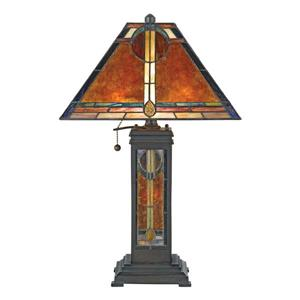 Quoizel San Gabriel 24-in Western Bronze 3-Light Table Lamp with Mica Shade