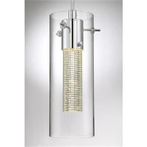 Quoizel Platinum Radiance Polished Chrome Mini Modern Crystal Cylinder Integrated LED Pendant