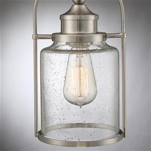 Quoizel Payson Brushed Nickel Mini Modern/Contemporary Seeded Glass Lantern Pendant