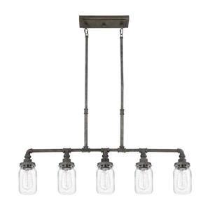 Quoizel Squire 38-in W 5-Light Rustic Black Matte finish Vintage Kitchen Island Light with Clear Shade