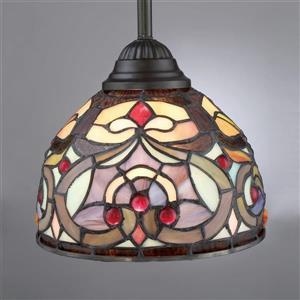 Quoizel Carroll 8-in Polished Chrome Tiffany Bell Mini Pendant Lighting