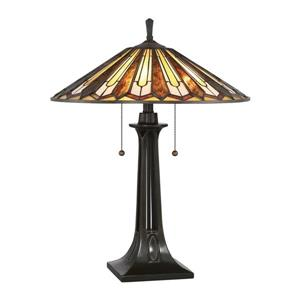 Quoizel Lance 25-in with Vintage Bronze Base and Multi Coloured Shade Table Lamp