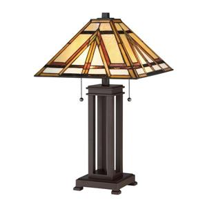 Quoizel Gibbons 22.5-in Russet Table Lamp with Tiffany-Style Shade