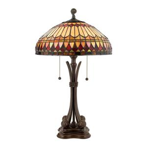 Quoizel West End 26.5-in Brushed Bullion 3-Light Table Lamp with Glass Shade