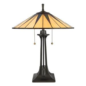 Quoizel Gotham 22-in Imperial Bronze 2-Light Table Lamp with Glass Shade