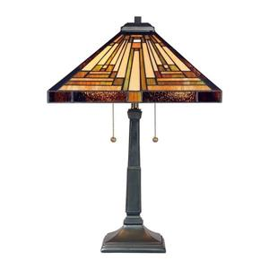 Quoizel Stephen 23-in Vintage Bronze 2-Light Table Lamp with Tiffany-Style Shade