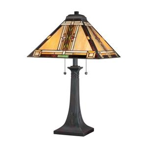 Quoizel Navajo 25-in Valiant Bronze 2-Light Table Lamp with Glass Shade