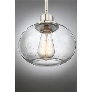 Quoizel Trilogy Brushed Nickel Mini Transitional Clear Glass Drum Pendant